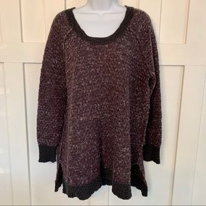 Free People Marled Purple Scoop Neck Nubby Sweater